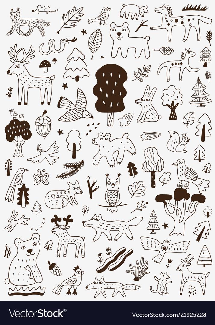 Forest animals nature symbols - doodle set