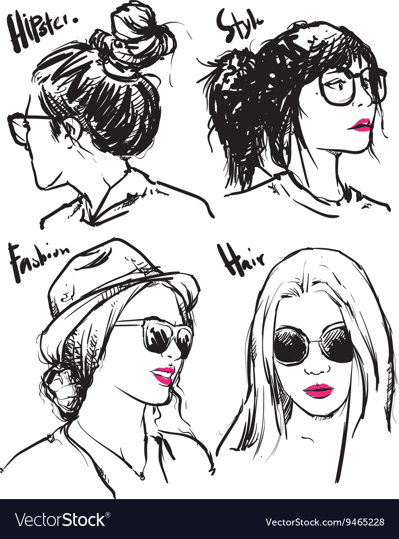 Hand drawn fashion girls hipster outline vector image