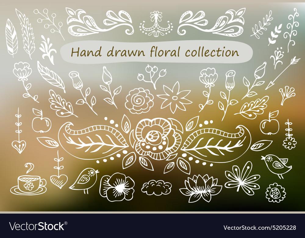 Hand Drawn vintage floral elements Set of flowers