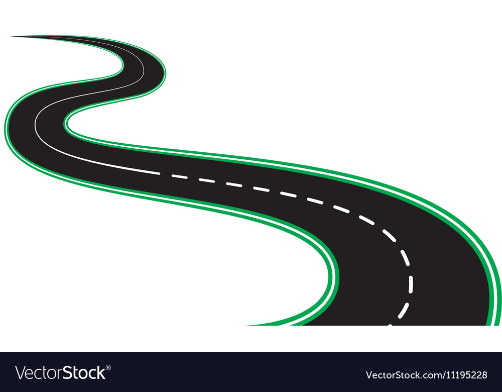 Isolated black asphalt roads and roadsides vector image