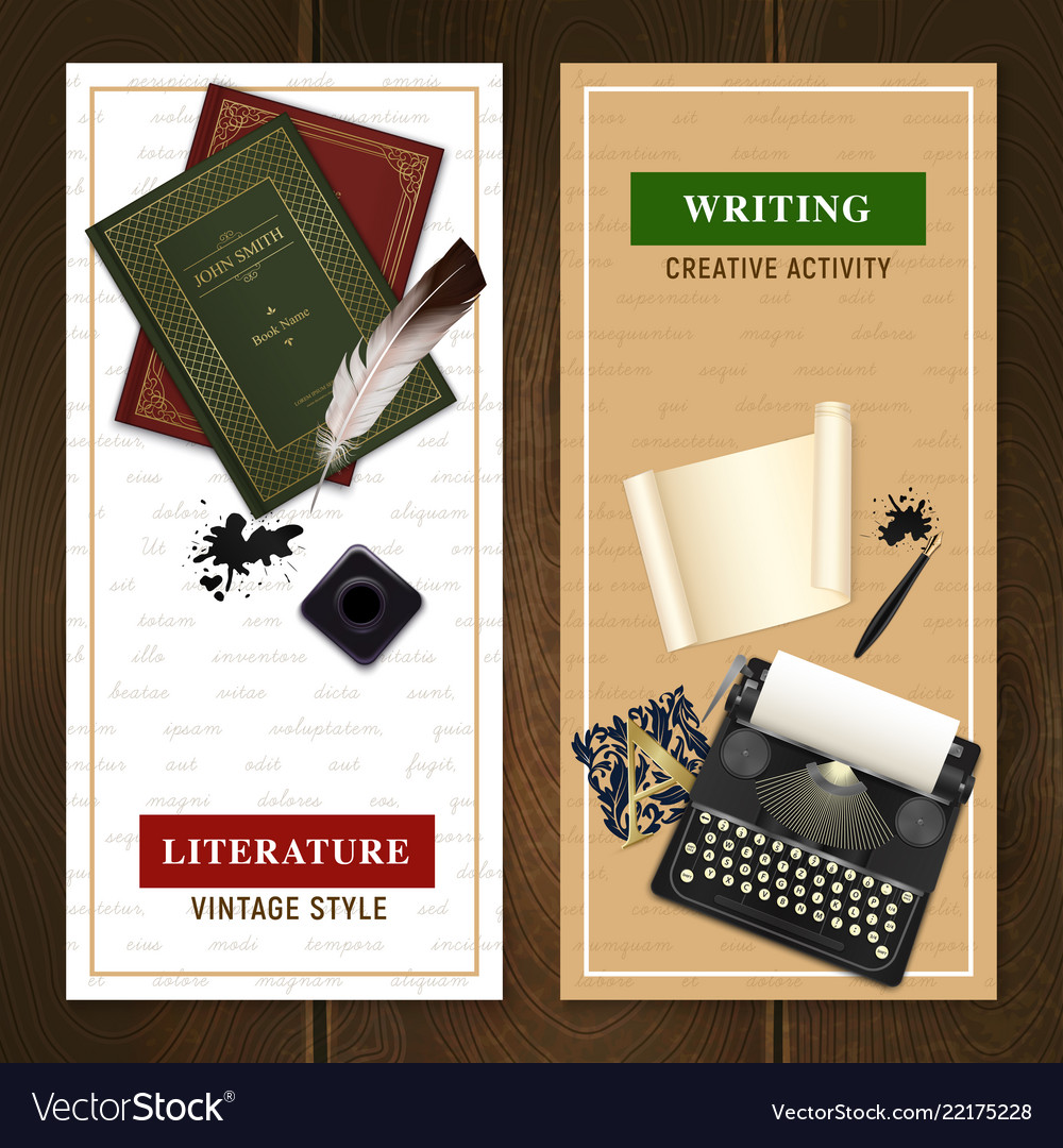 Realistic literature objects vertical banners