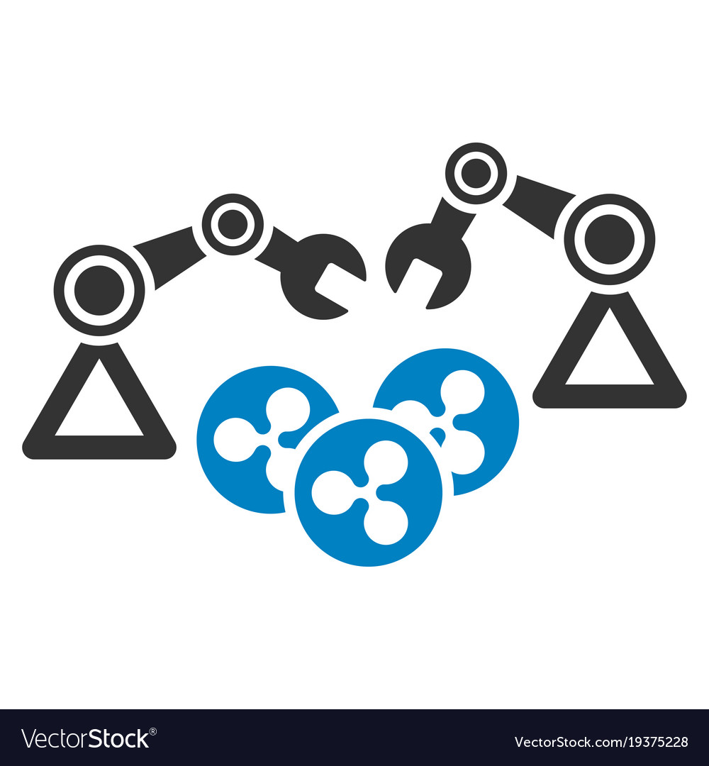 Ripple mining robotics flat icon