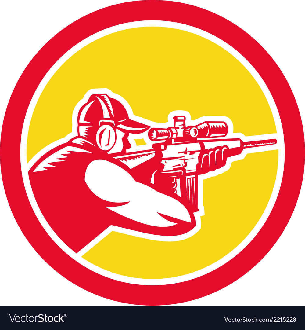 Shooter Aiming Telescope Rifle Circle Retro