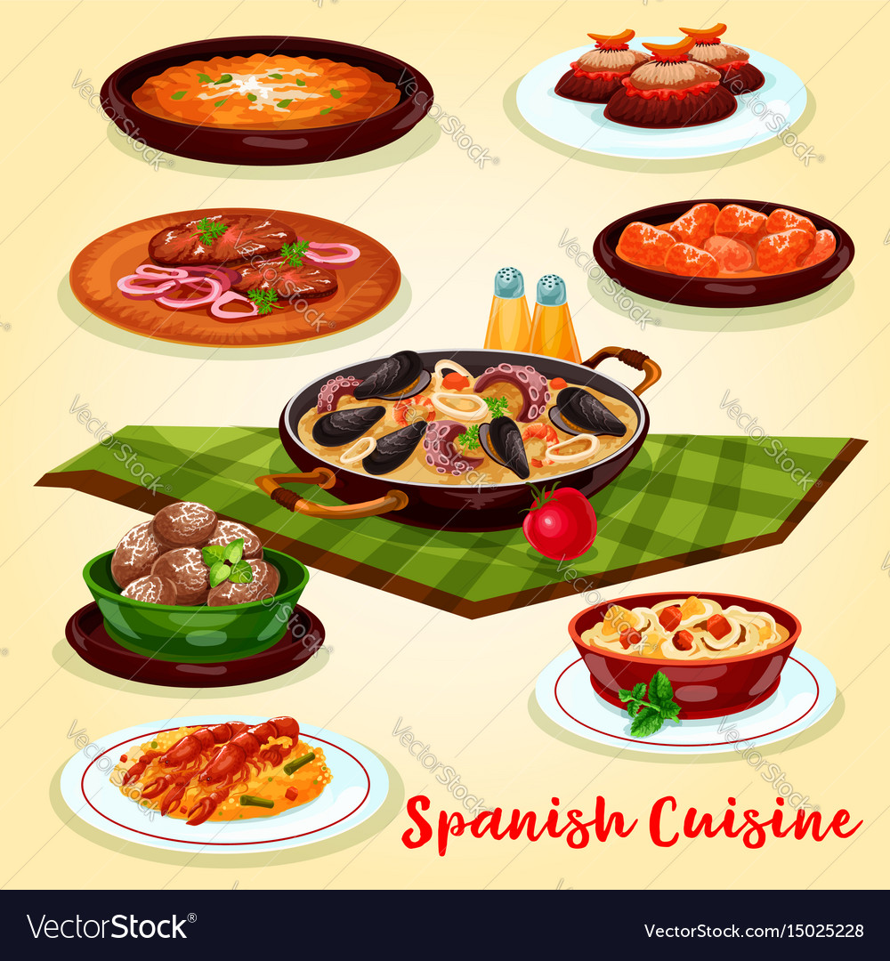Spanish cuisine dinner menu cartoon poster design