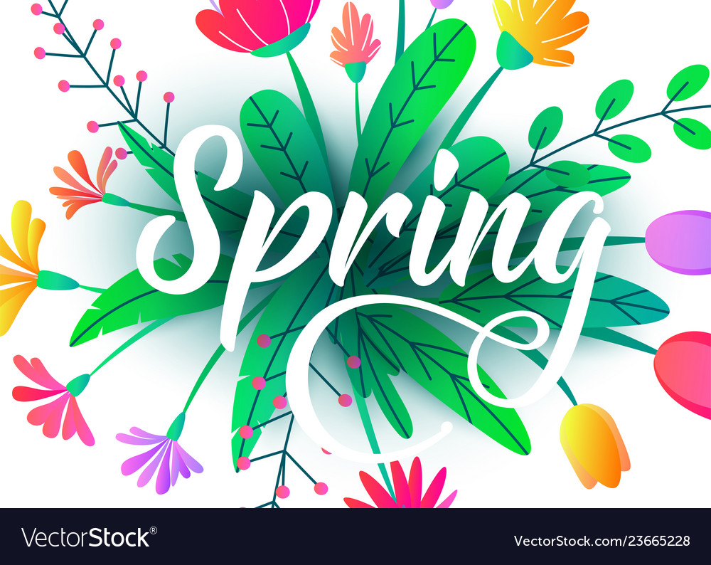 Spring word background with flat minimal