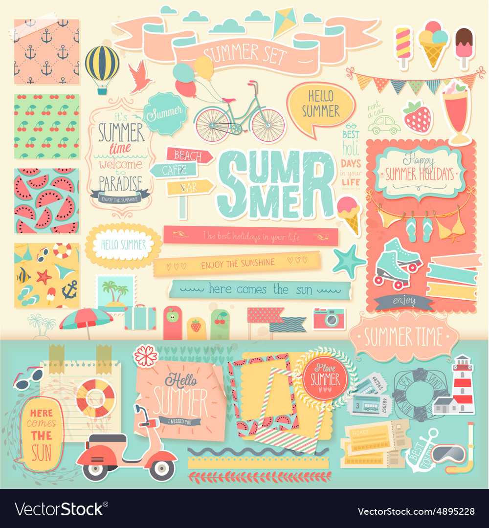 Summer scrapbook decorative elements