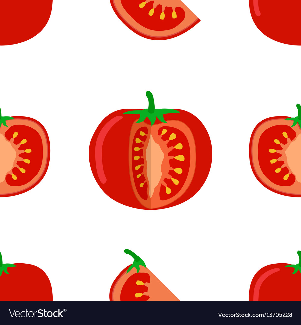 Tomato seamless pattern of tomato and slices on vector image