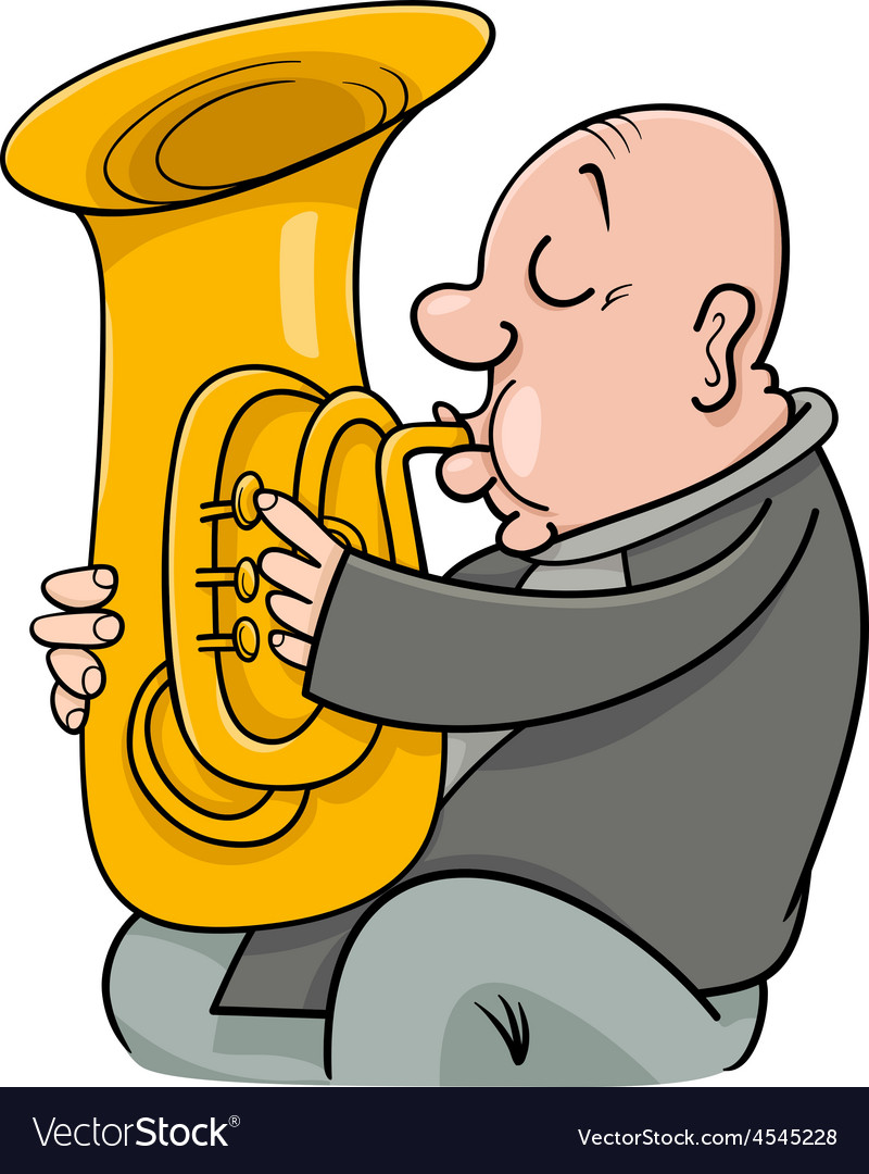 Trumpeter with tuba cartoon