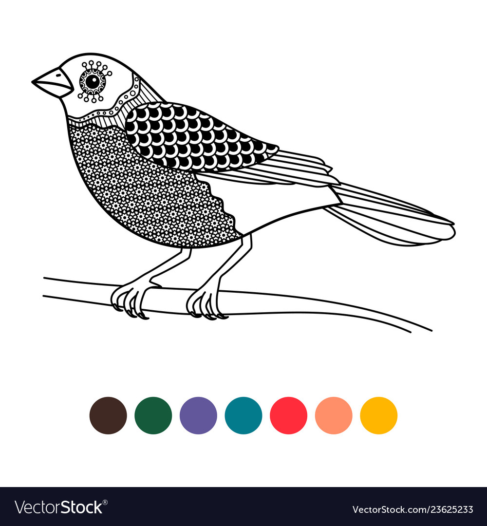Black line doodle bird coloring page poster