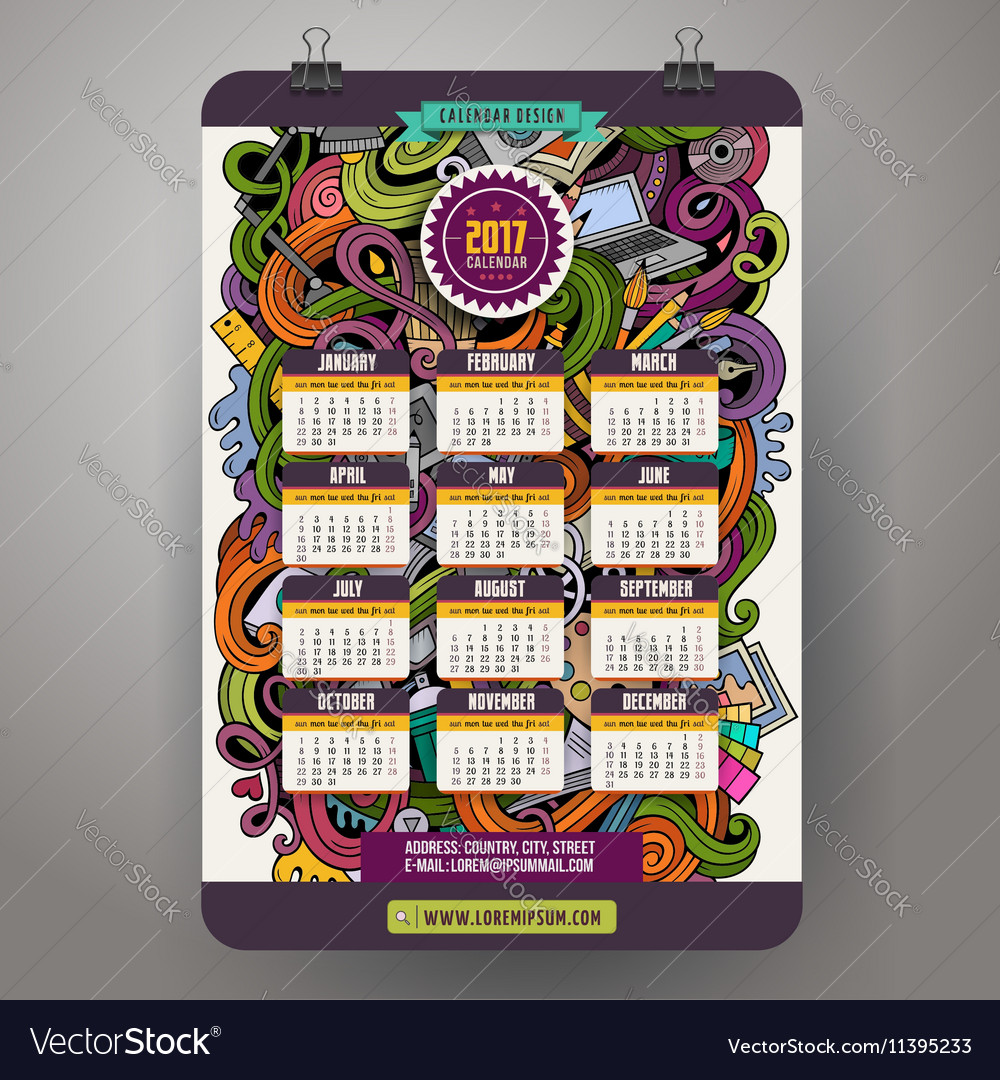 Cartoon doodles Designer 2017 year calendar vector image