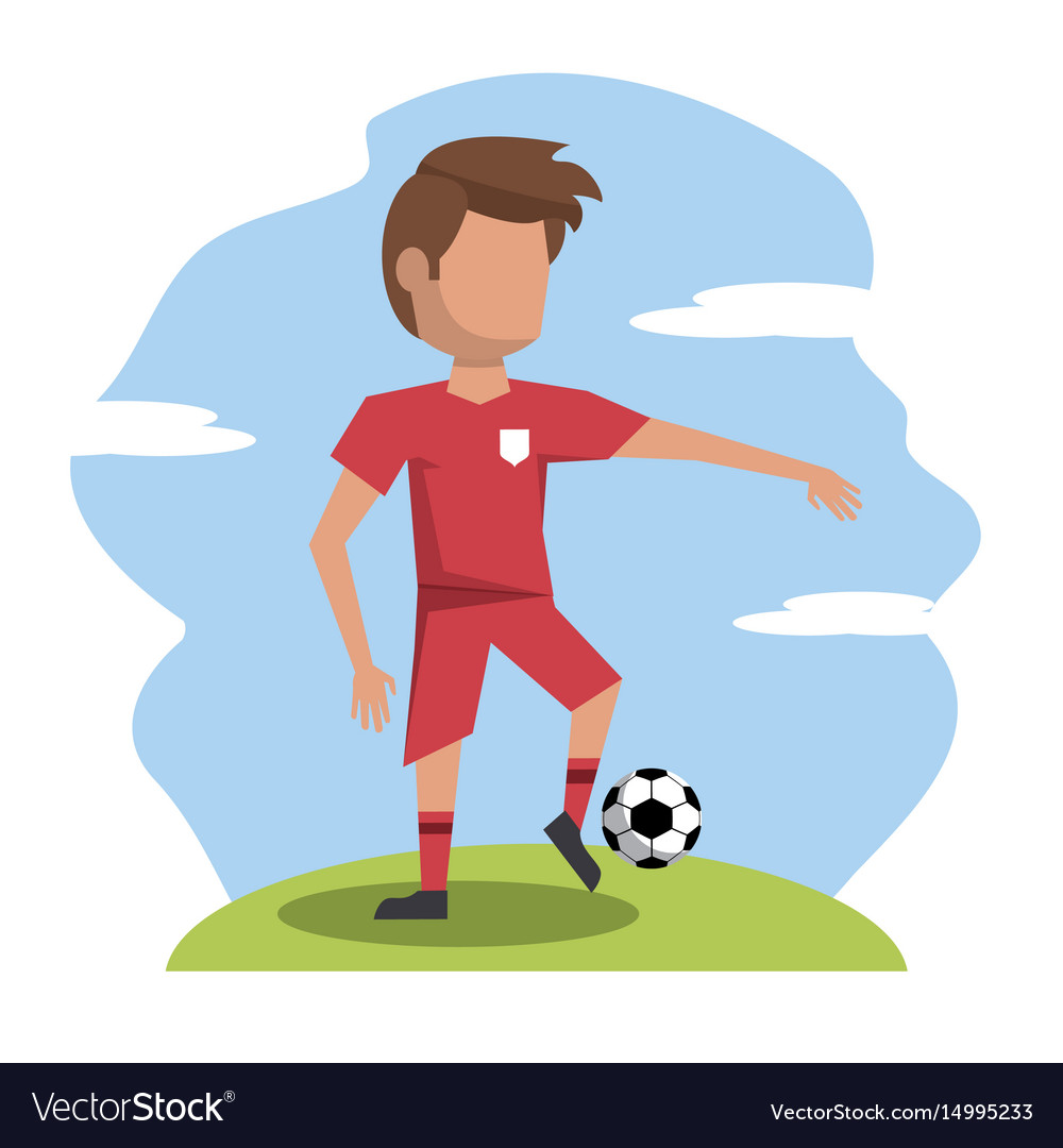 Color scene with faceless athlete football player