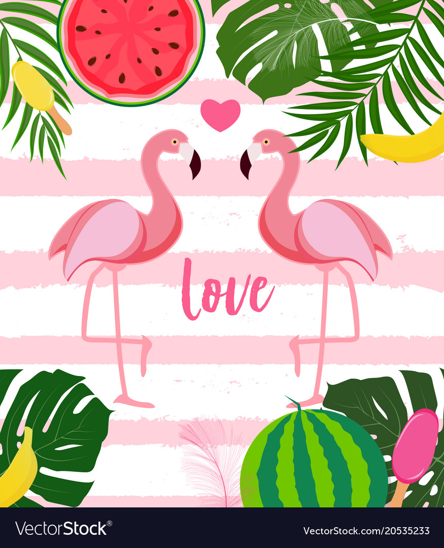 cute flamingo love background royalty free vector image