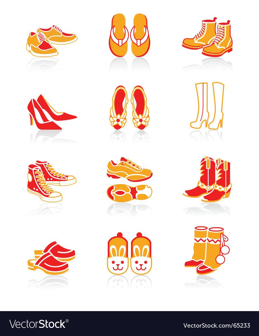 Footwear icons juicy series vector image