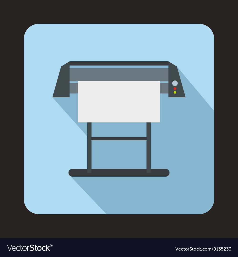 Large format inkjet printer icon flat style