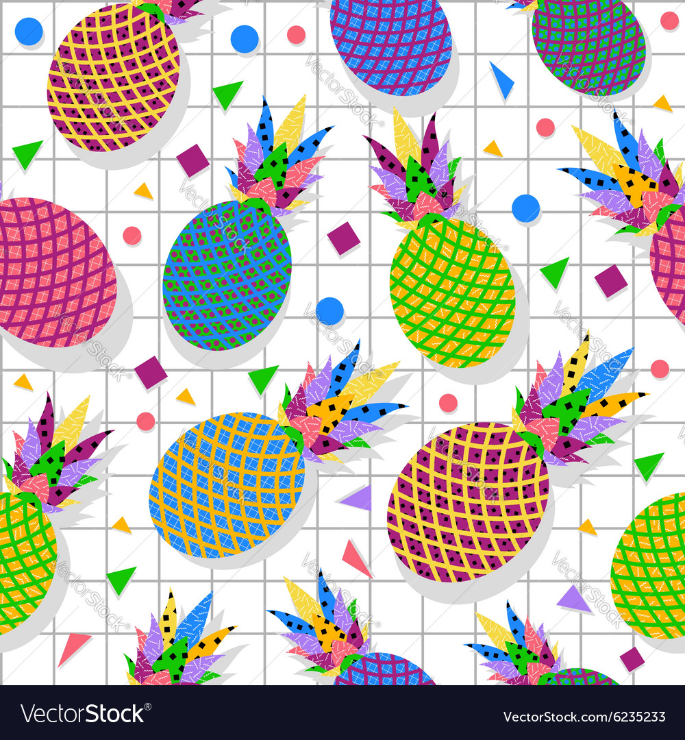 Retro vintage pineapple fruit 80s pattern backdrop vector image