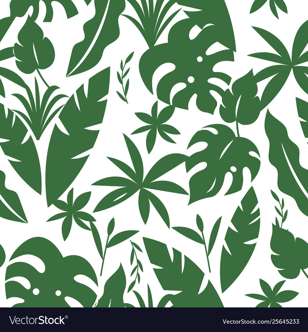 Seamless tropical pattern with palm leaves