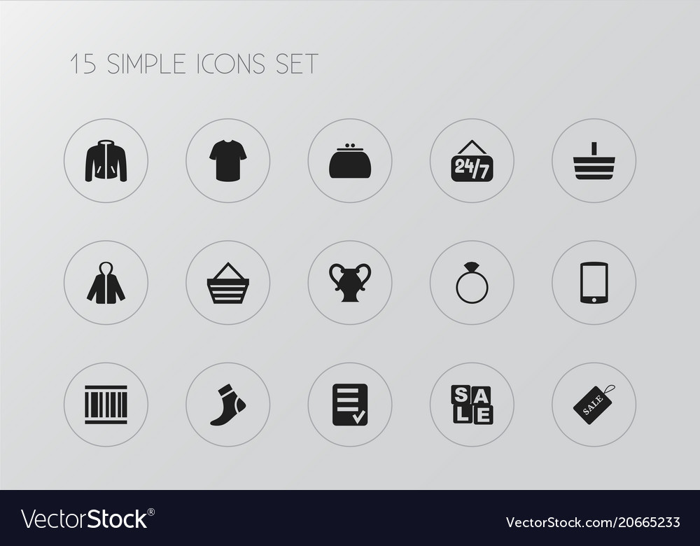 Set of 15 editable shopping icons includes