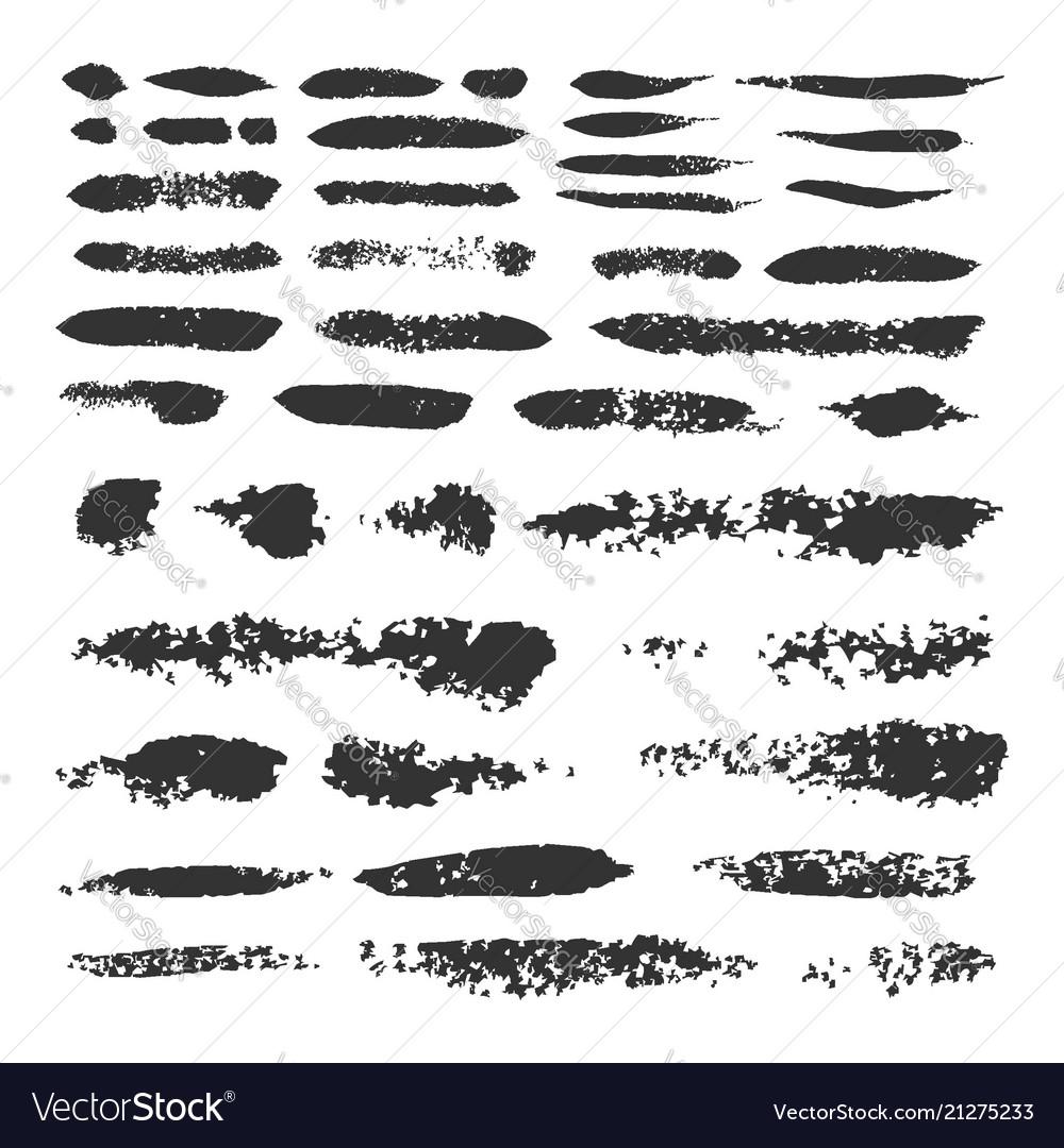 Set of black ink brush strokes
