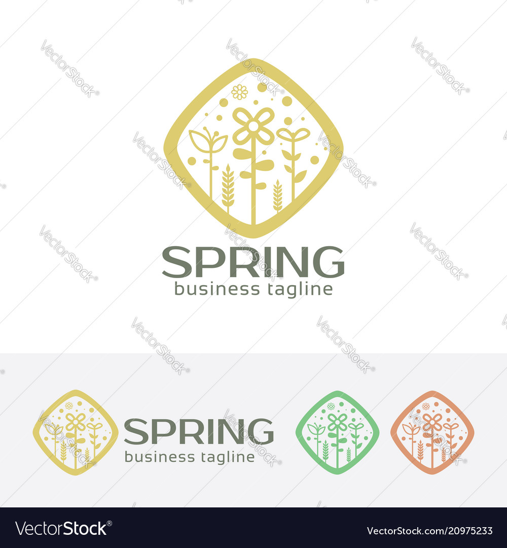 Spring logo design vector