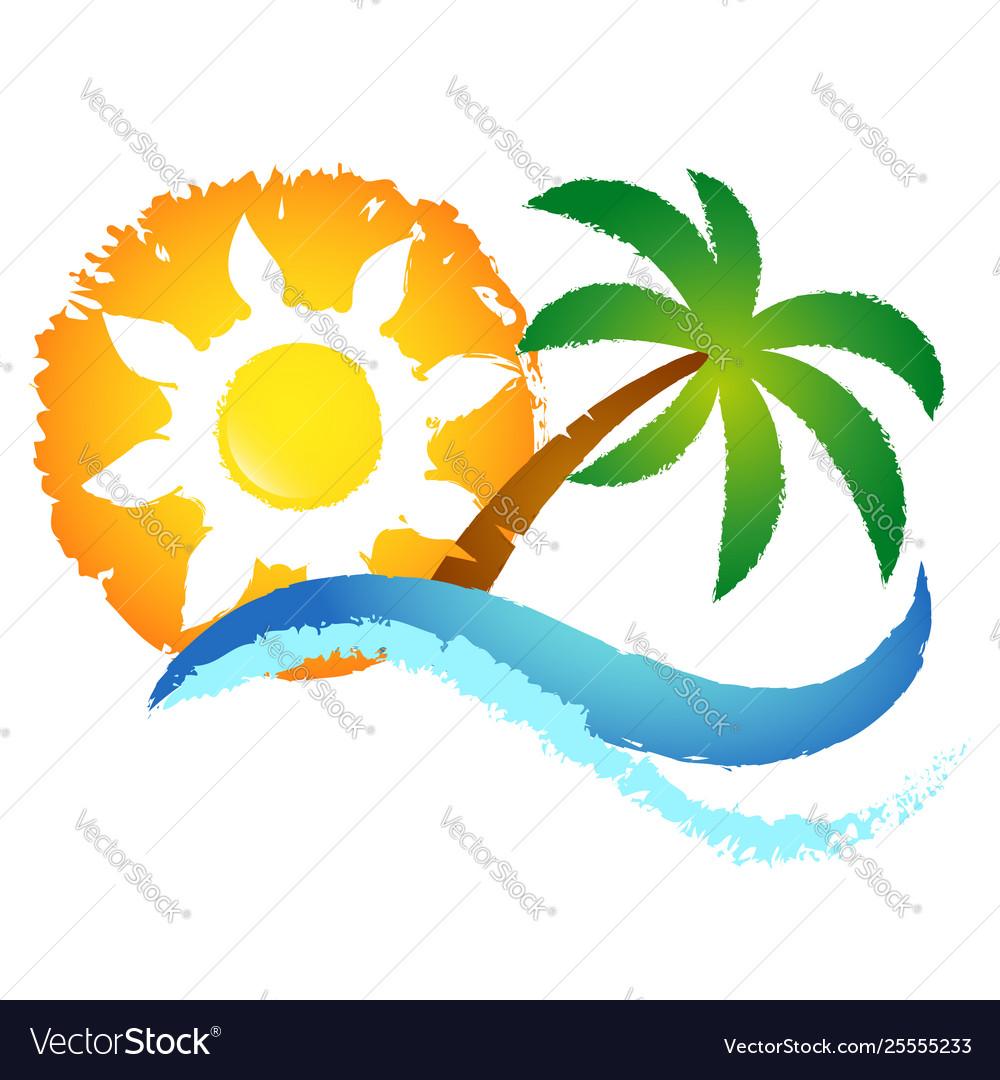Sun blue wave and palm tree