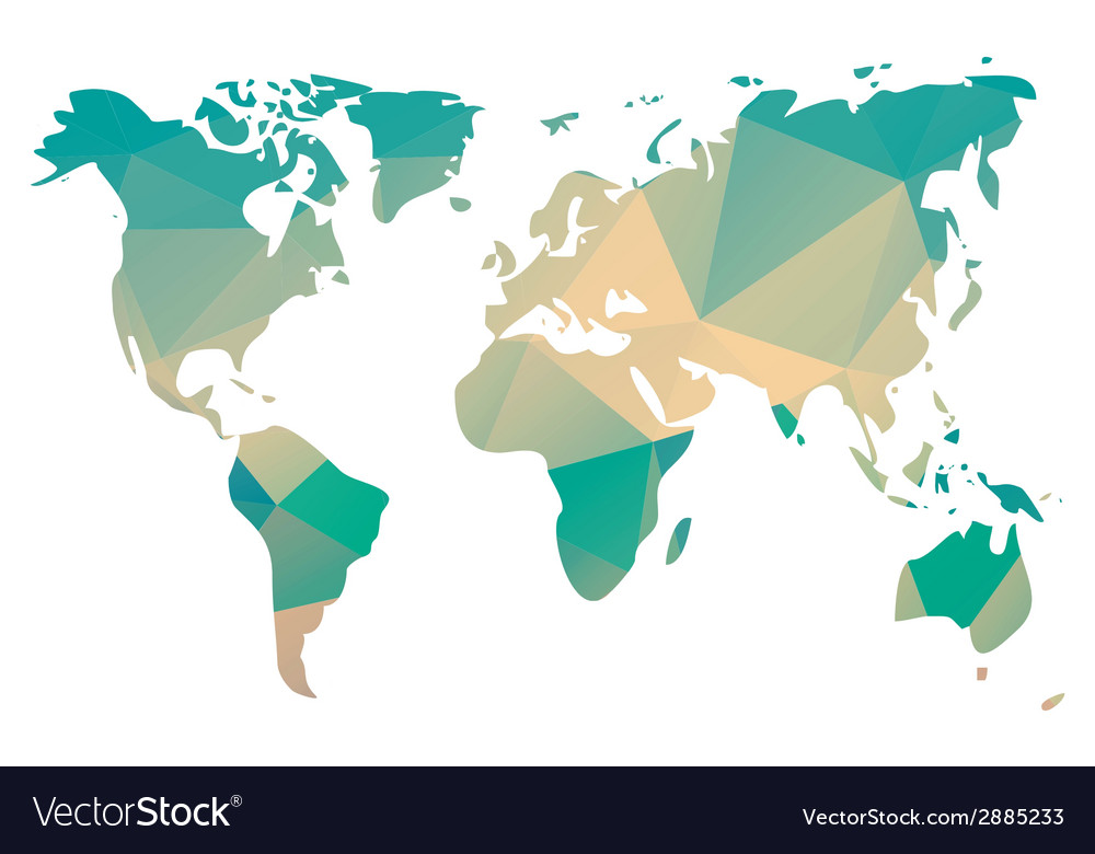 World Map In Geometric Triangle Pattern Design Vector Image
