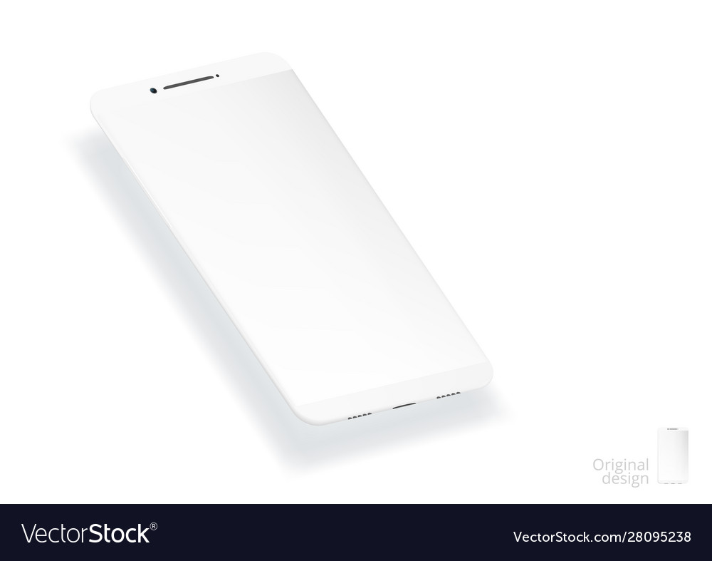 3d white simple smartphone with empty screen
