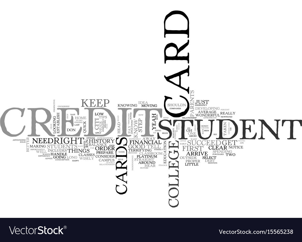 A guide for student credit cards text word cloud vector image