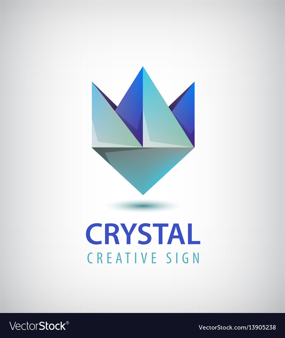 Abstract 3d crystal geometric logo