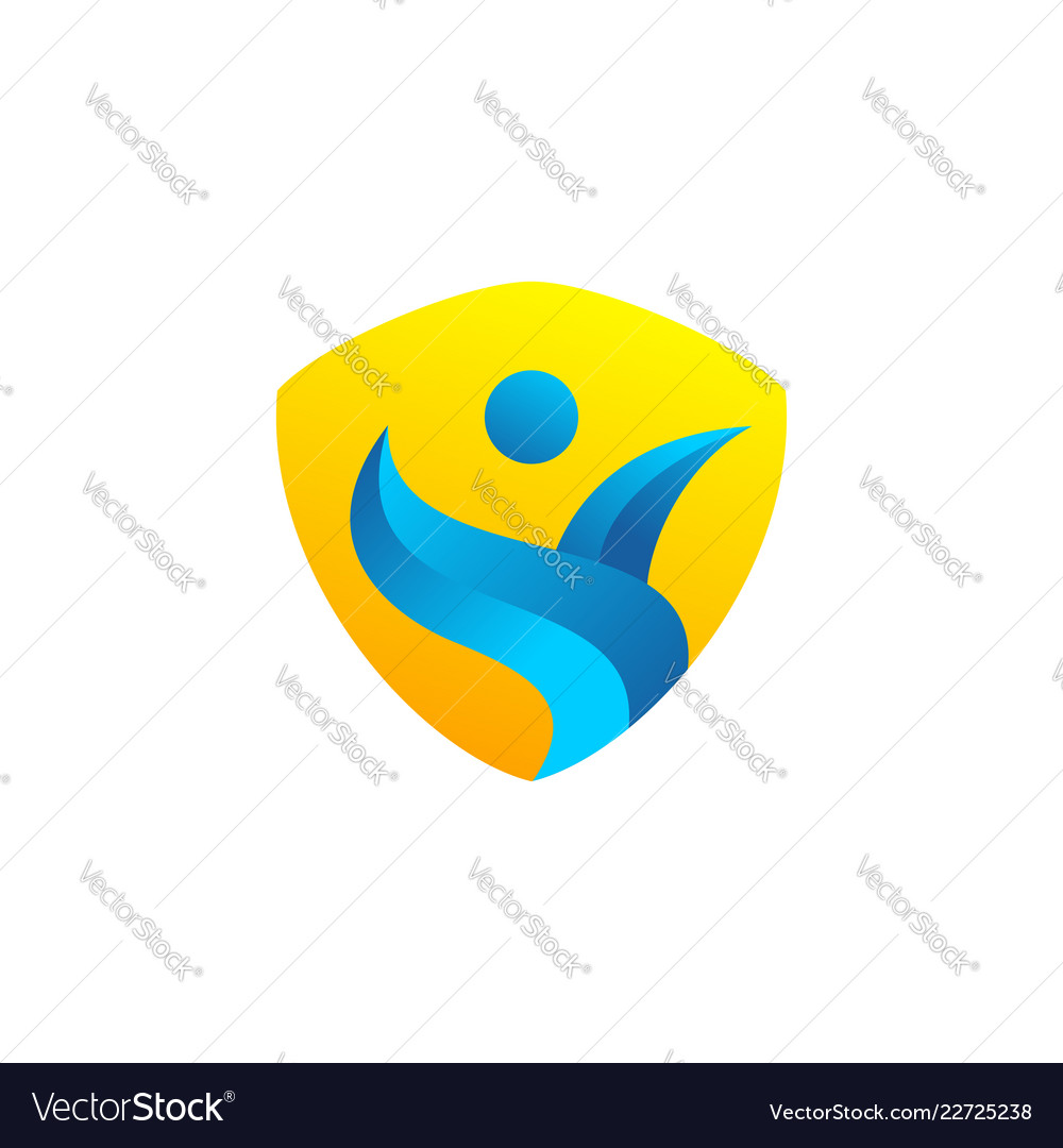 Abstract people shield icon logo