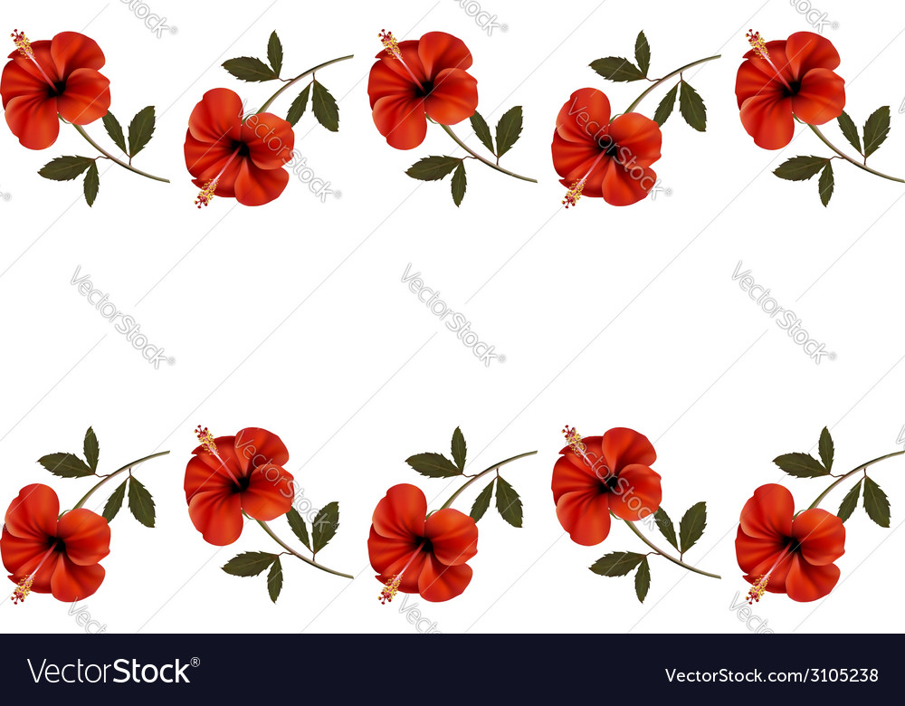Background with a border of red flowers