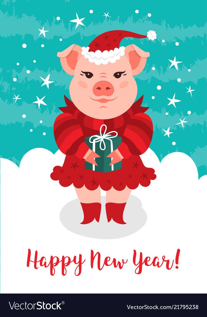 Cartoon pig happy new year 2019 greeting card