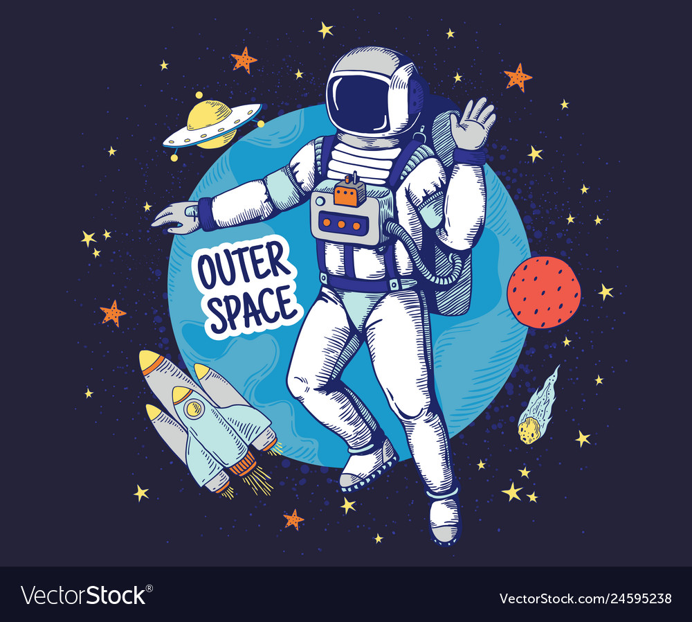 Doodle astronaut hand drawn space boys poster