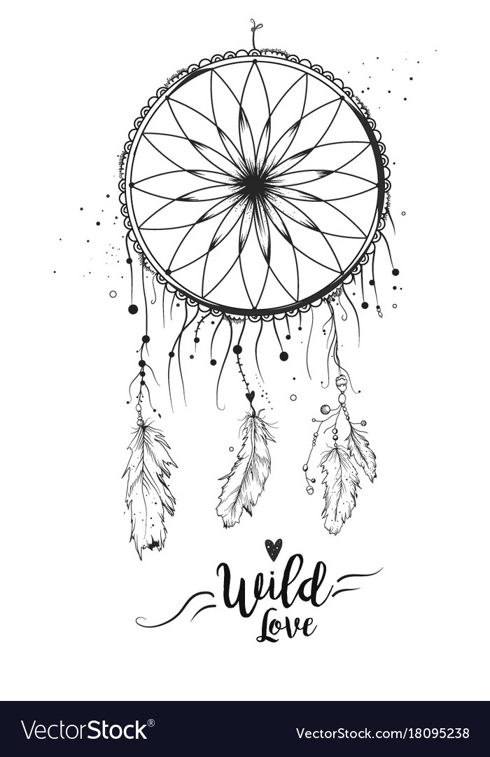 Dreamcatcher with bird feather beads lace amp