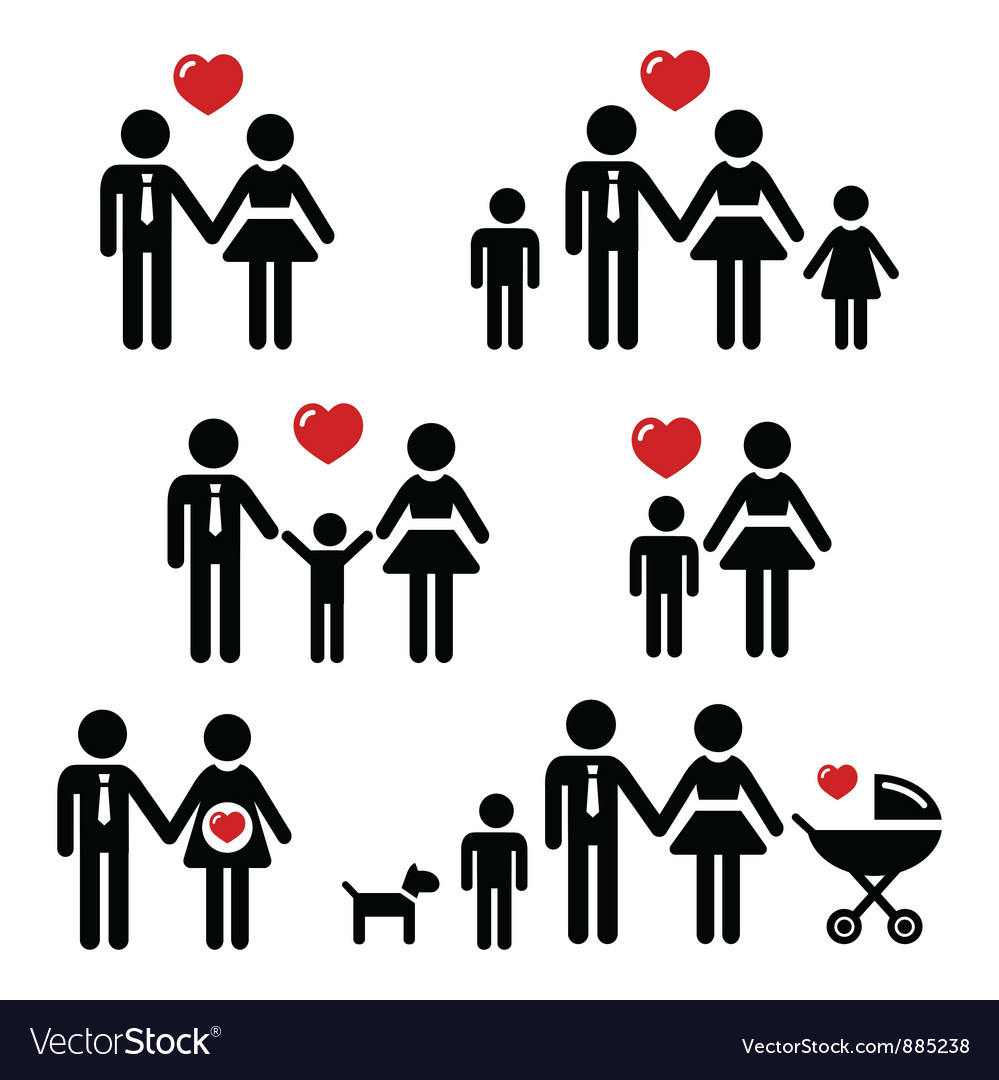 Family people icons vector image