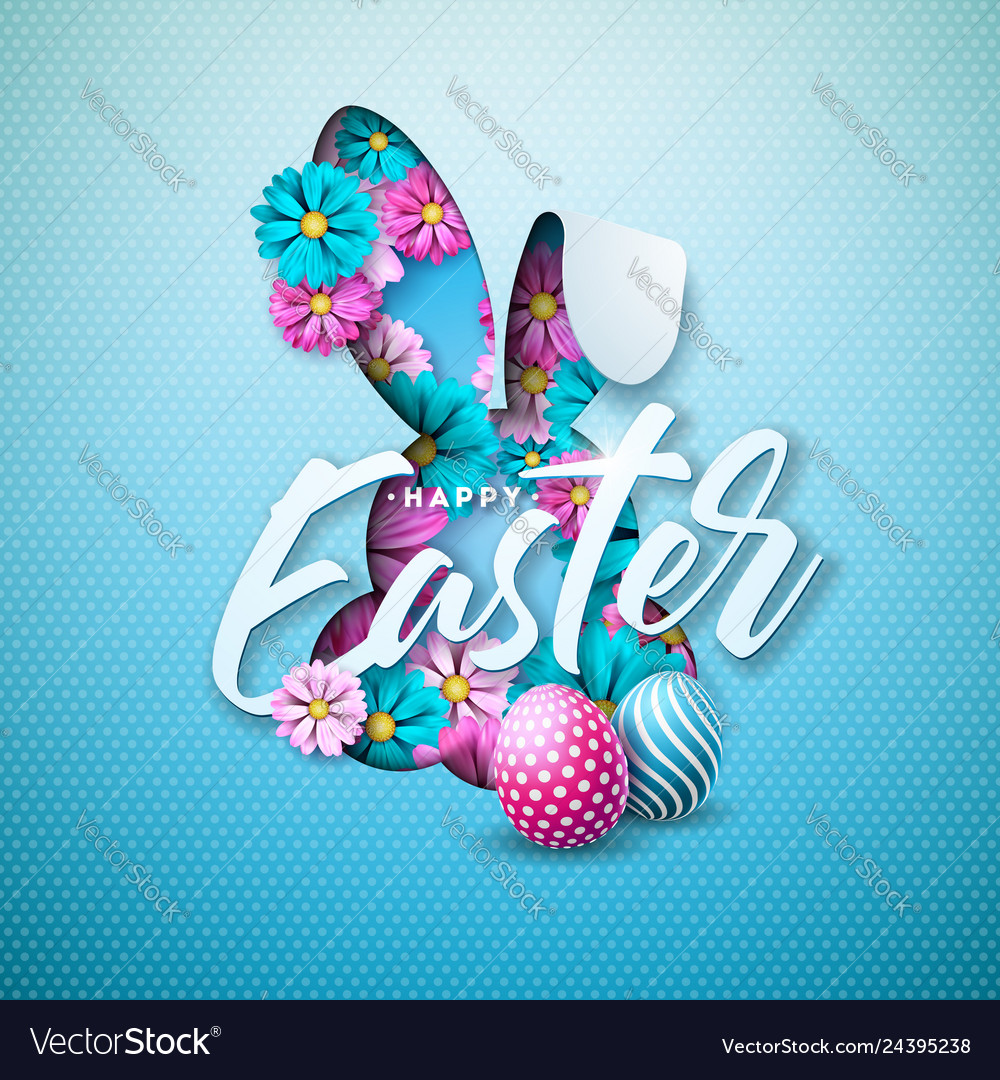Happy easter holiday design with painted egg