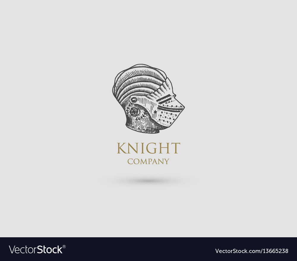 Helmet logo medieval knight antique vintage