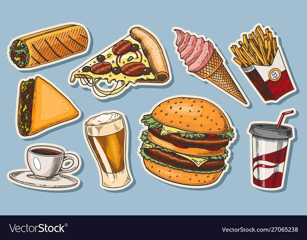 Junk fast food burger and hamburger tacos and