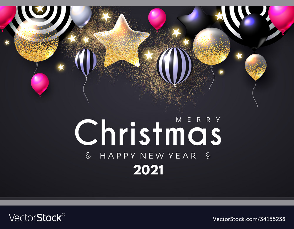 Merry Christmas 2021 Pictures Gray Merry Christmas And Happy New 2021 Year Shining Vector Image