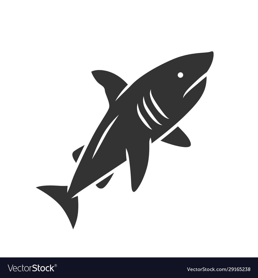 Shark glyph icon dangerous ocean predator