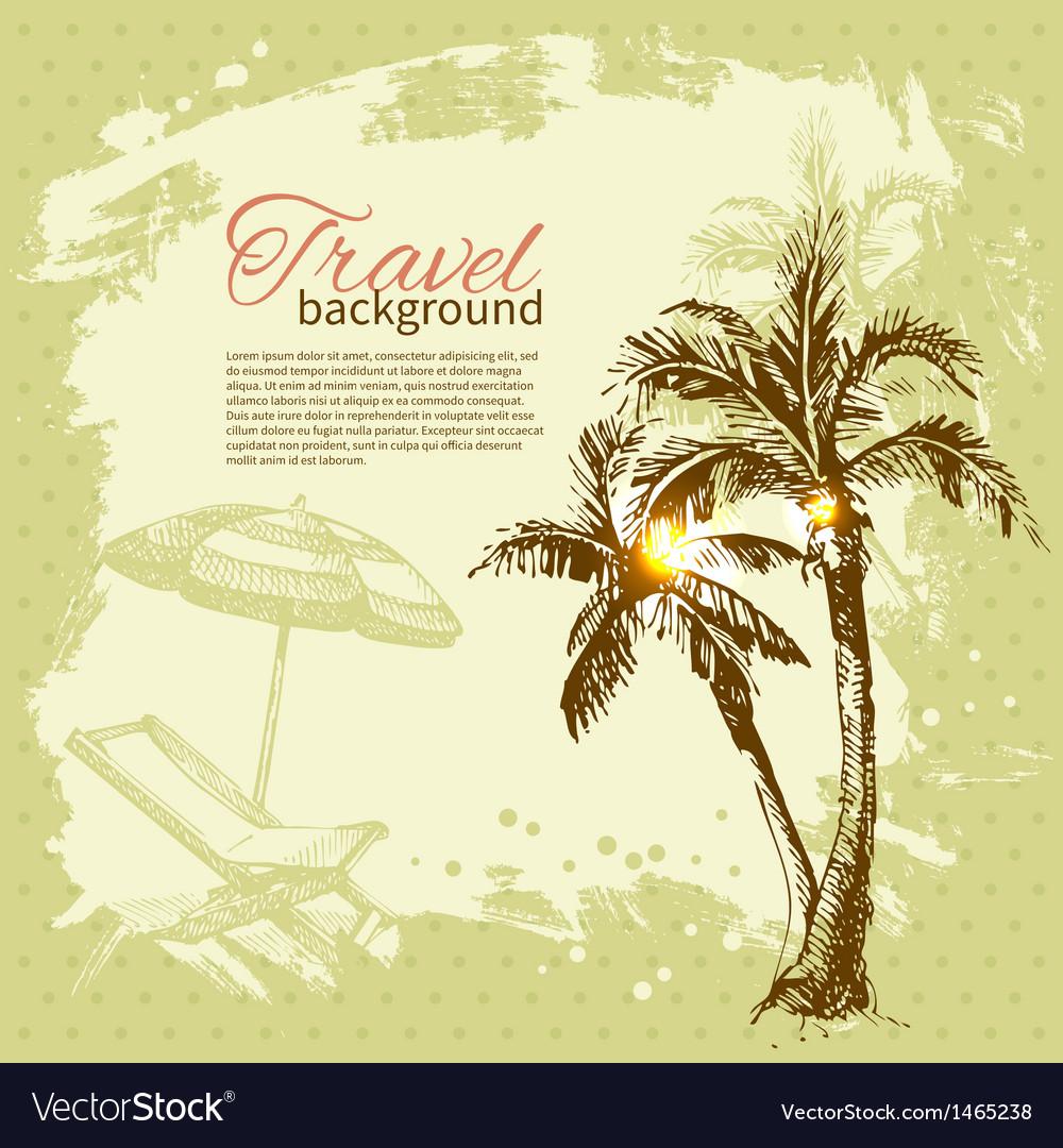 Travel hand drawn vintage tropical design