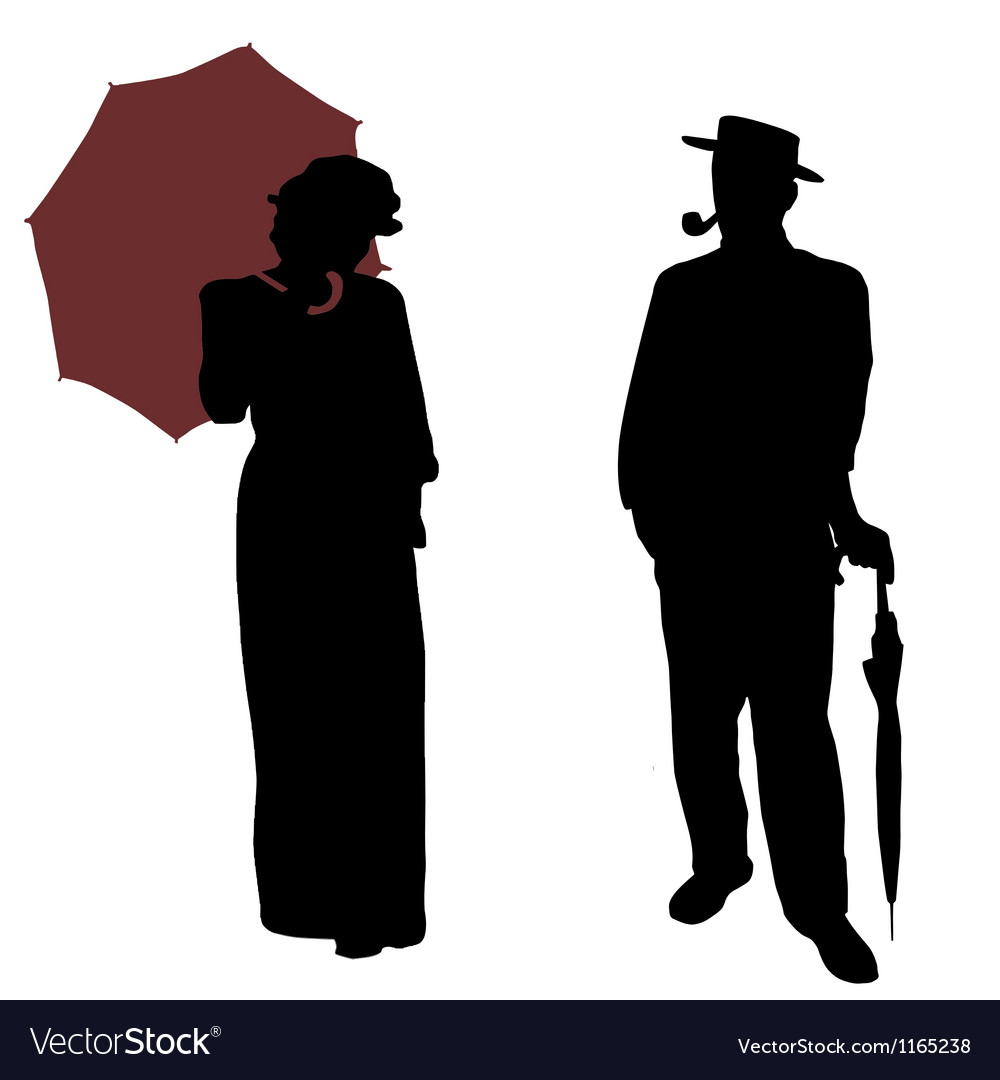 Vintage people silhouettes vector image
