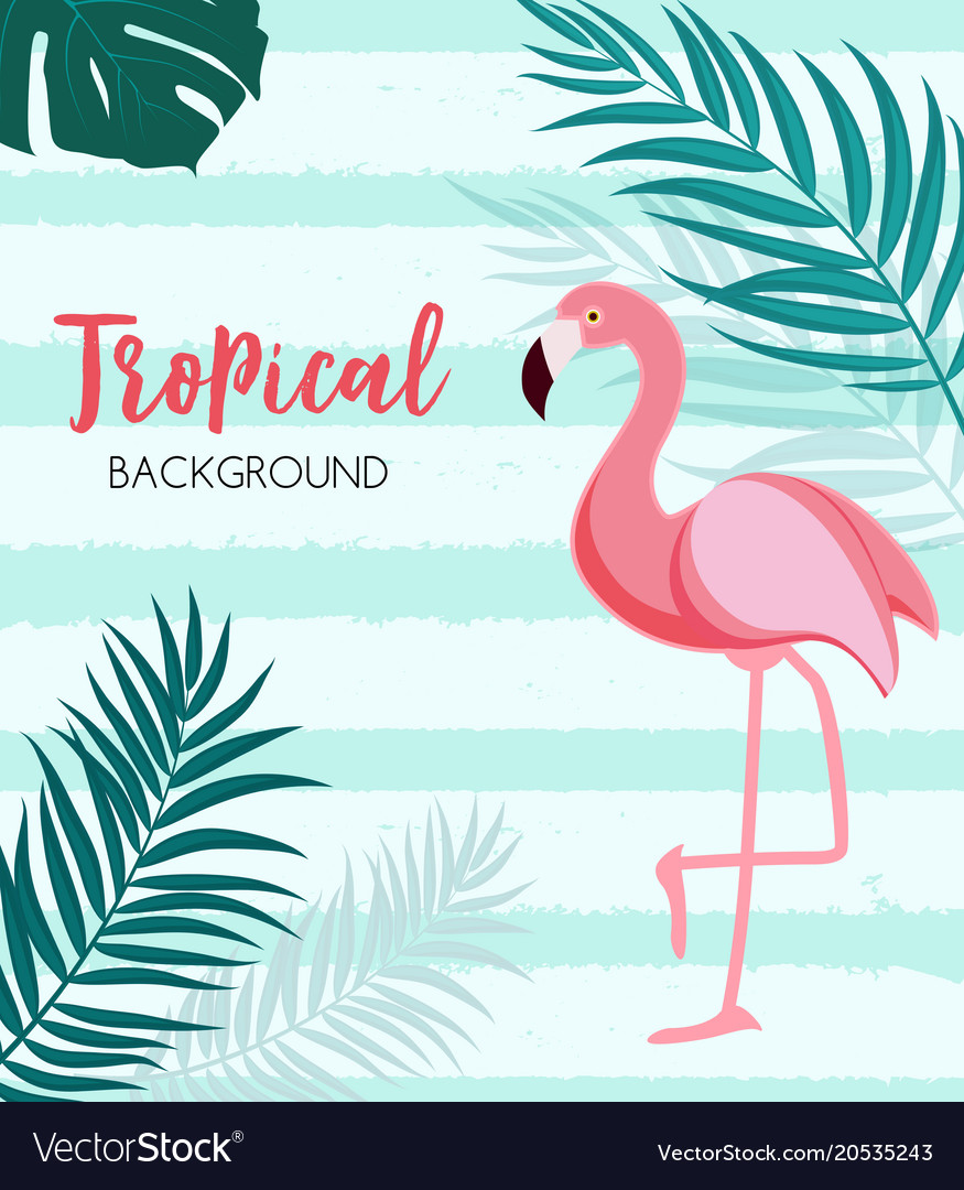Abstract tropical background with flamingo and