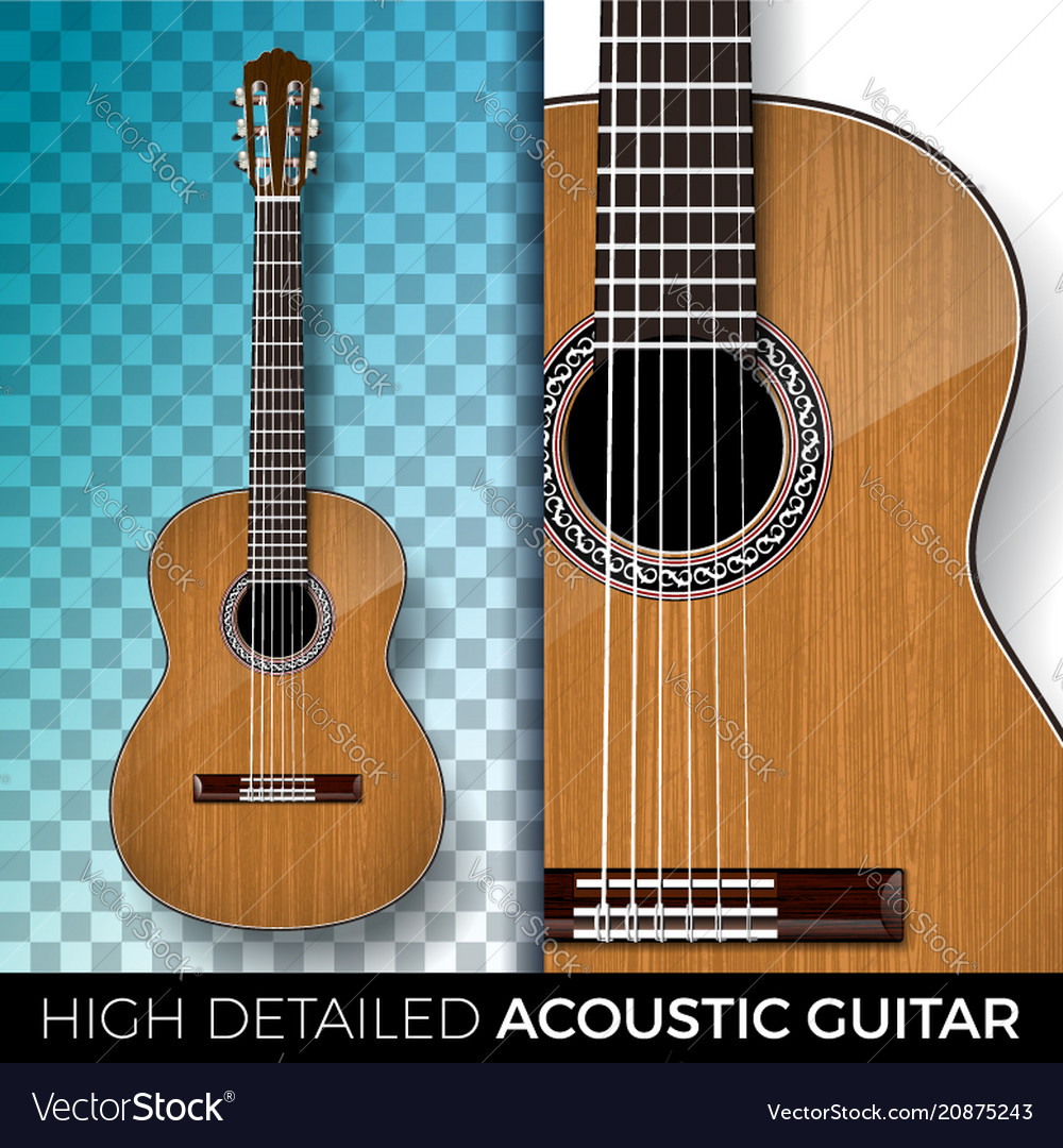Acoustic guitar isolated on transparent background