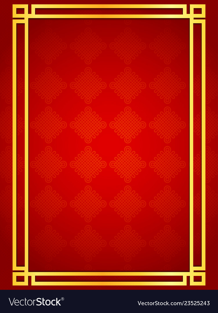 Blank chinese card background with golden line fra