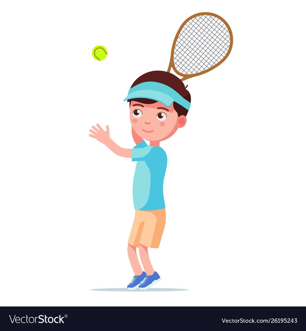 Boy tennis player throws ball to hit