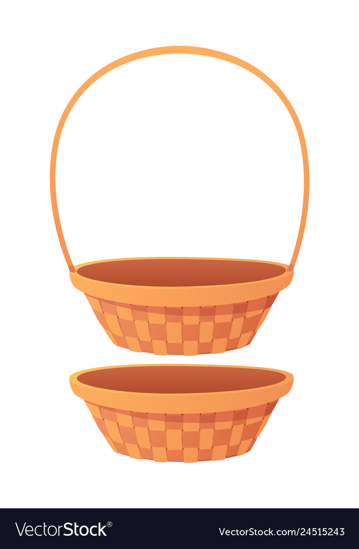 Cute empty cartoon basket isolated on white