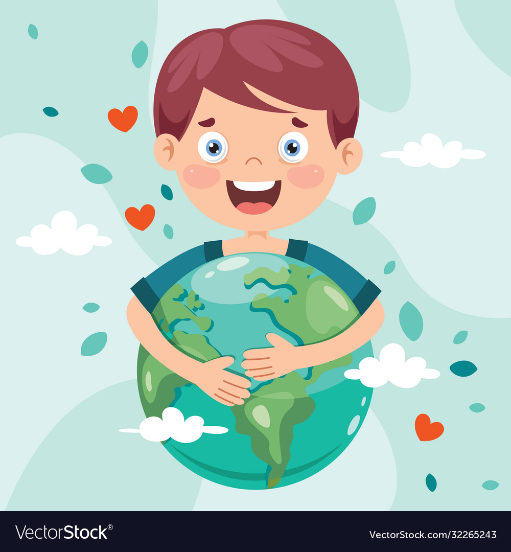 Earth day with funny character