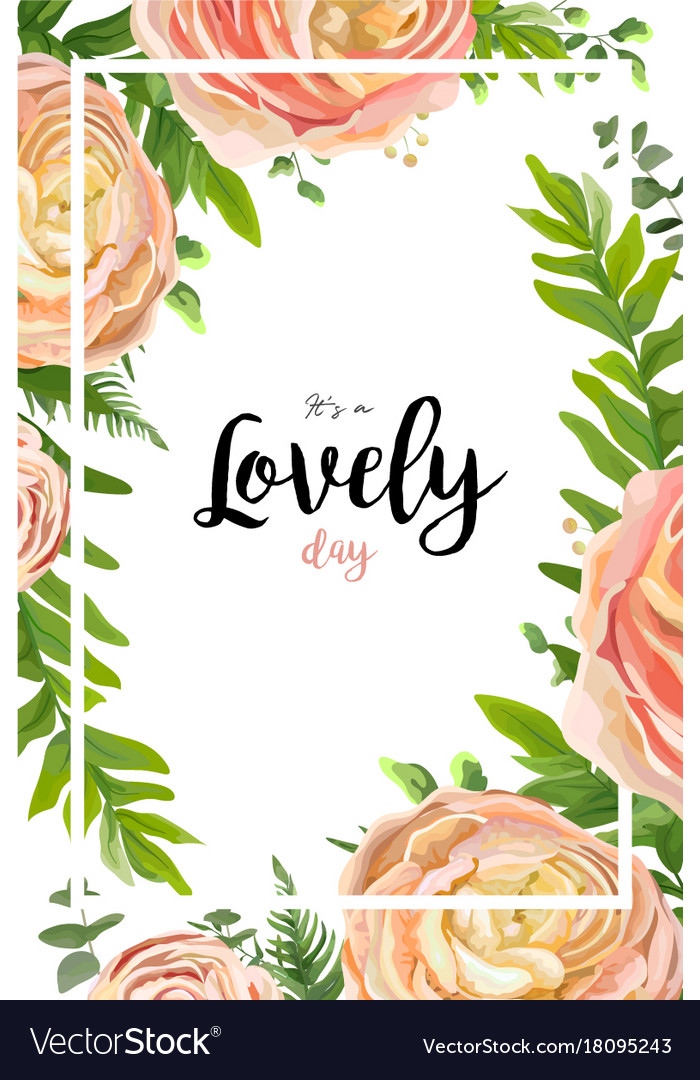 Floral watercolor style card design pink peach