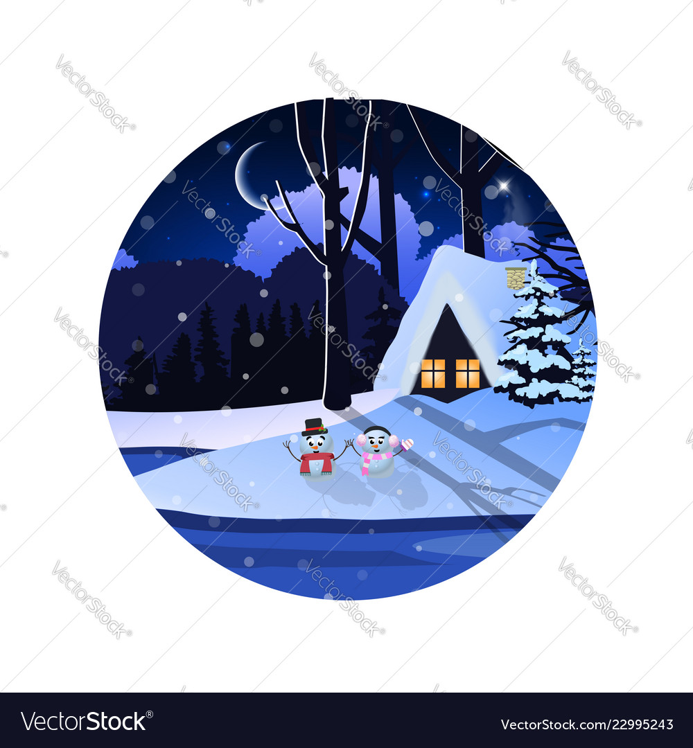 Round sign of winter snowy night landscape with