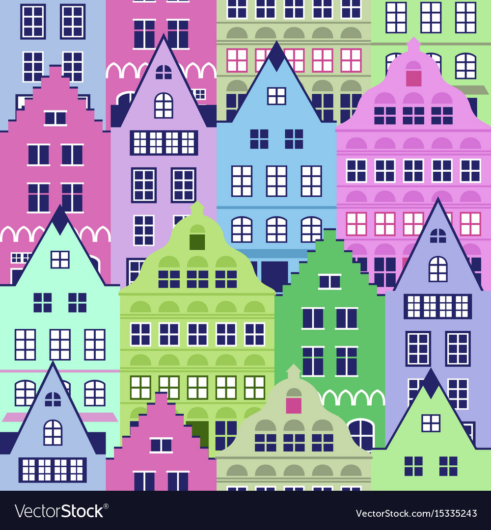 Seamless pattern with old houses
